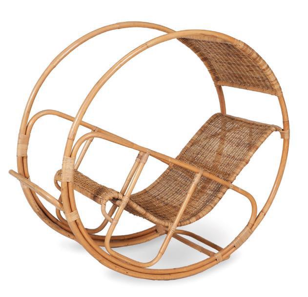 2478€ Franco Bettonica(1927-1999), fauteuil Dondolo692, rotin, 123x60x130cm, édition Vittorio Bonacina, 1964. Marseille, 5juin 2