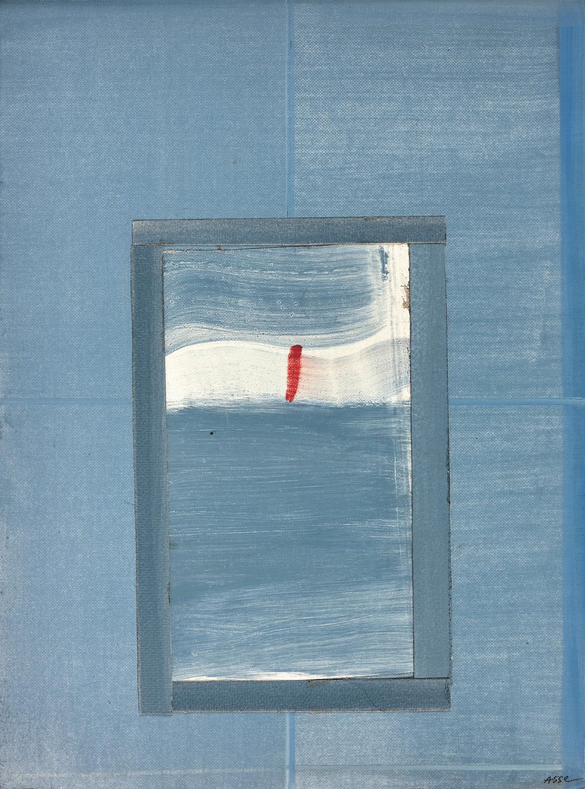 Geneviève Asse (née en 1923), Signe rouge, 1986, huile sur papier lin et collage, 32x24cm. Courtesy Galerie Laurentin, Paris - Bruxelle