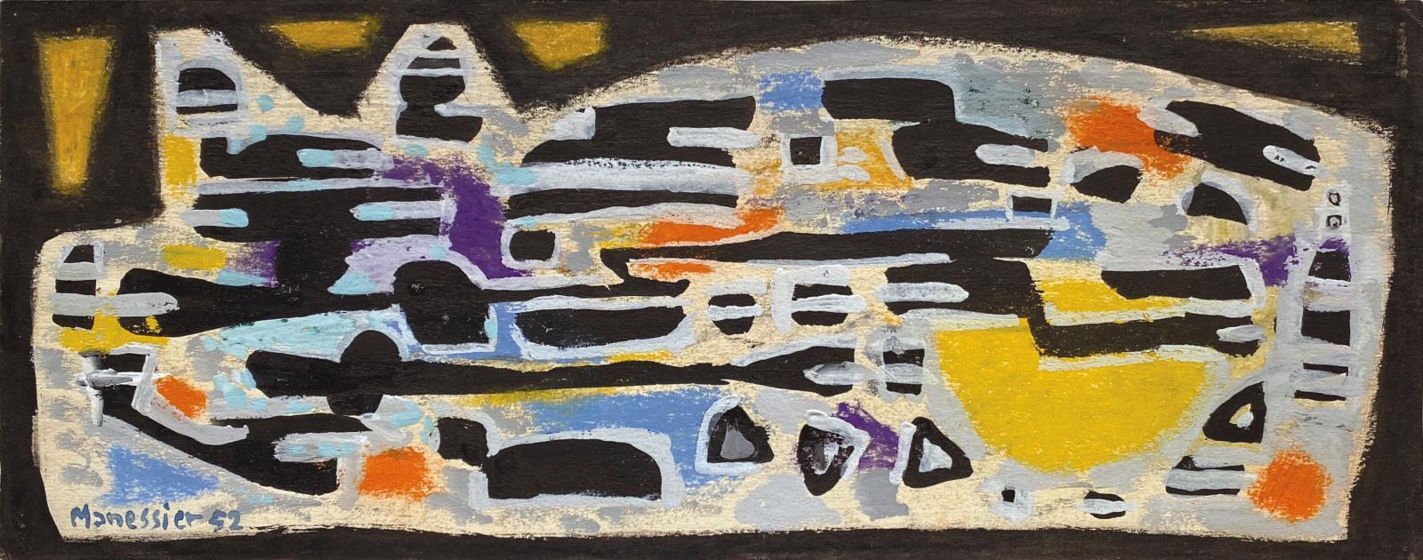 Alfred Manessier (1911-1993), Hiver, 1952, gouache et pastel sur papier, 13,4x33cm. Courtesy Galerie Laurentin, Paris - Bruxelles