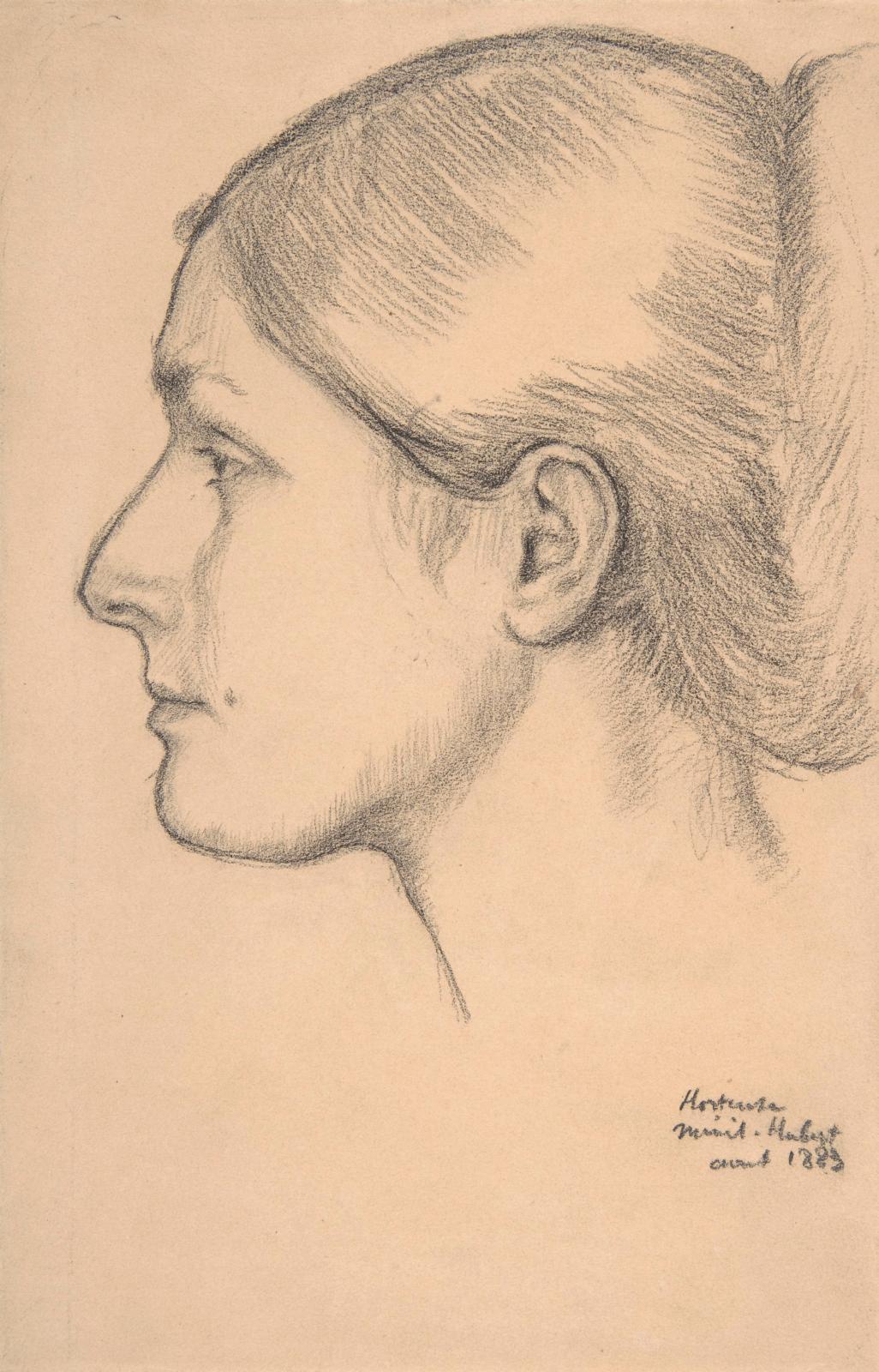 Edgar Degas, Portrait d'Hortense Valpinçon (MmeJacques Fourchy), 1883, crayon sur papier, 25x16,3cm, NewYork, Metropolitan Museum, Be