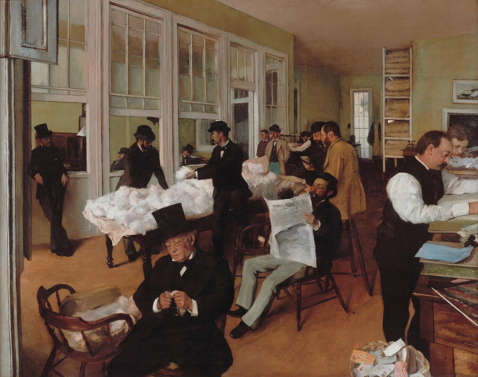 Edgar Degas, Un bureau de coton à la Nouvelle-Orléans, 1873, huile sur toile, 73x92cm, Pau, musée des beaux-arts. DR
