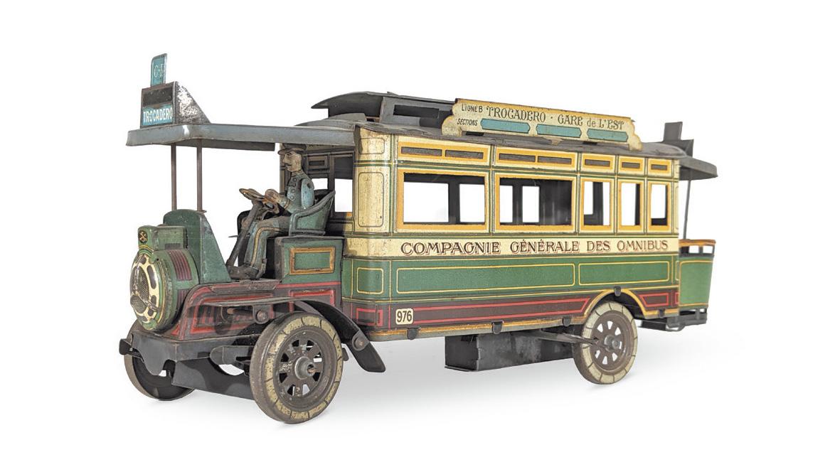 Marque C.R., première moitié du XXesiècle. Autobus en tôle polychrome, à l'enseigne de la Compagnie générale des omnibus sur la ligneB (