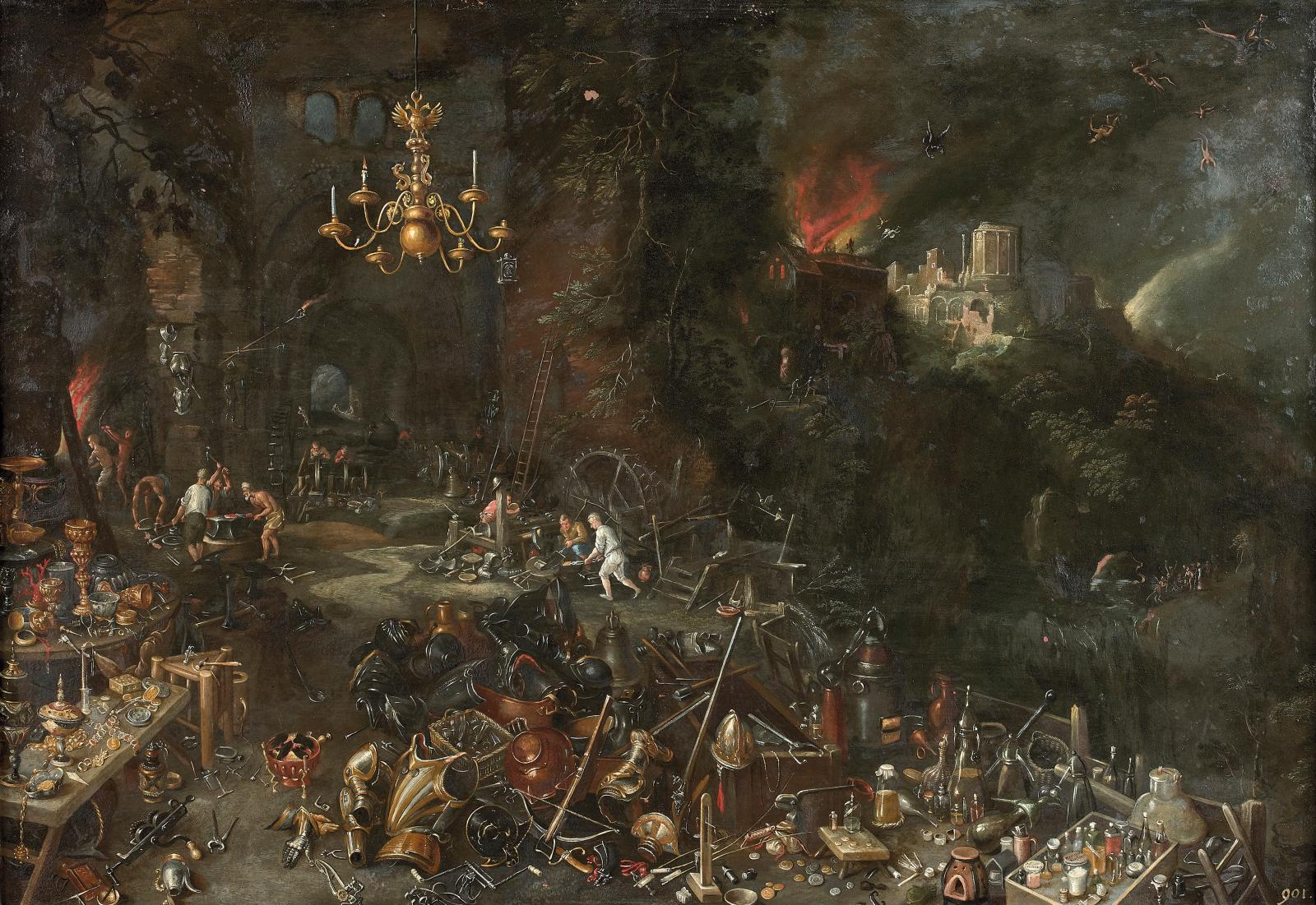 Le Feu, attribué à Jan II Bruegel, dit le Jeune, 45x67cm (détail).
