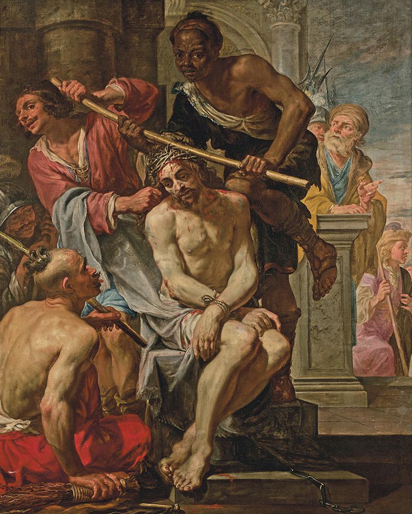 Jacques de l'Ange (début du XVIIe-vers 1644), Le Couronnement d'épines, huile sur toile, 193x158cm. Estimation: 70000/90000€