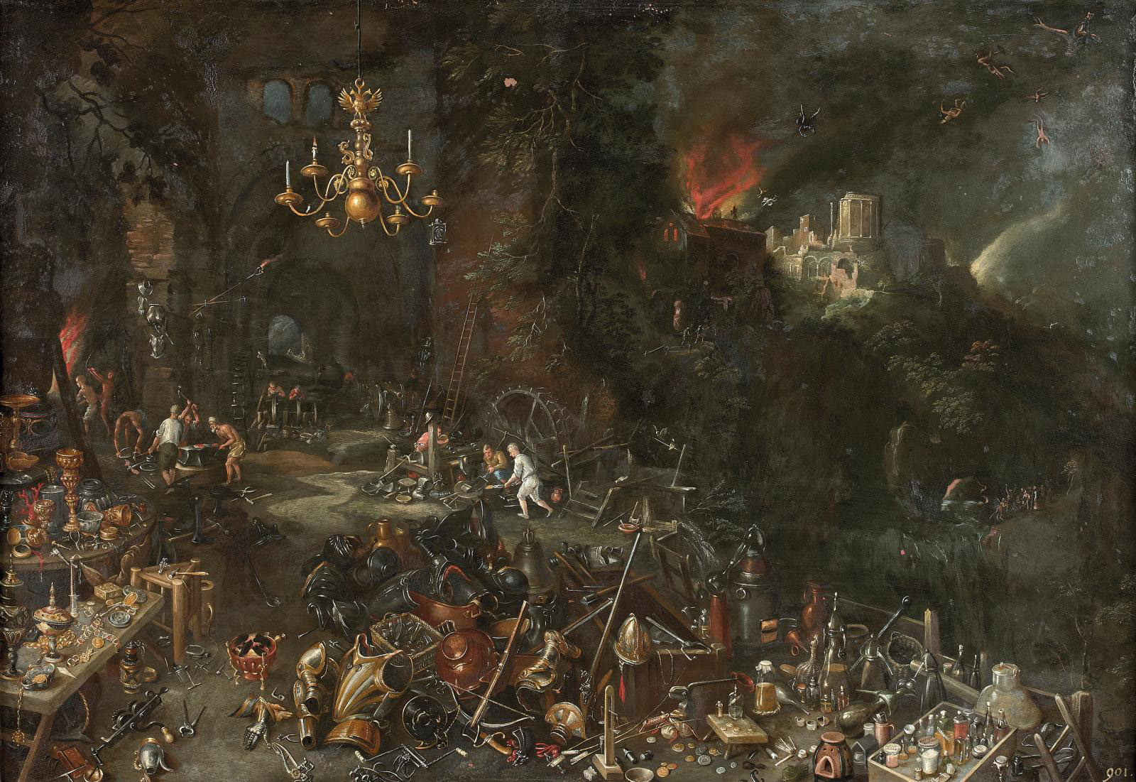 Fire by Jan Bruegel the Younger, detail, 45 x 67 cm (17.71 x 26.37 in).