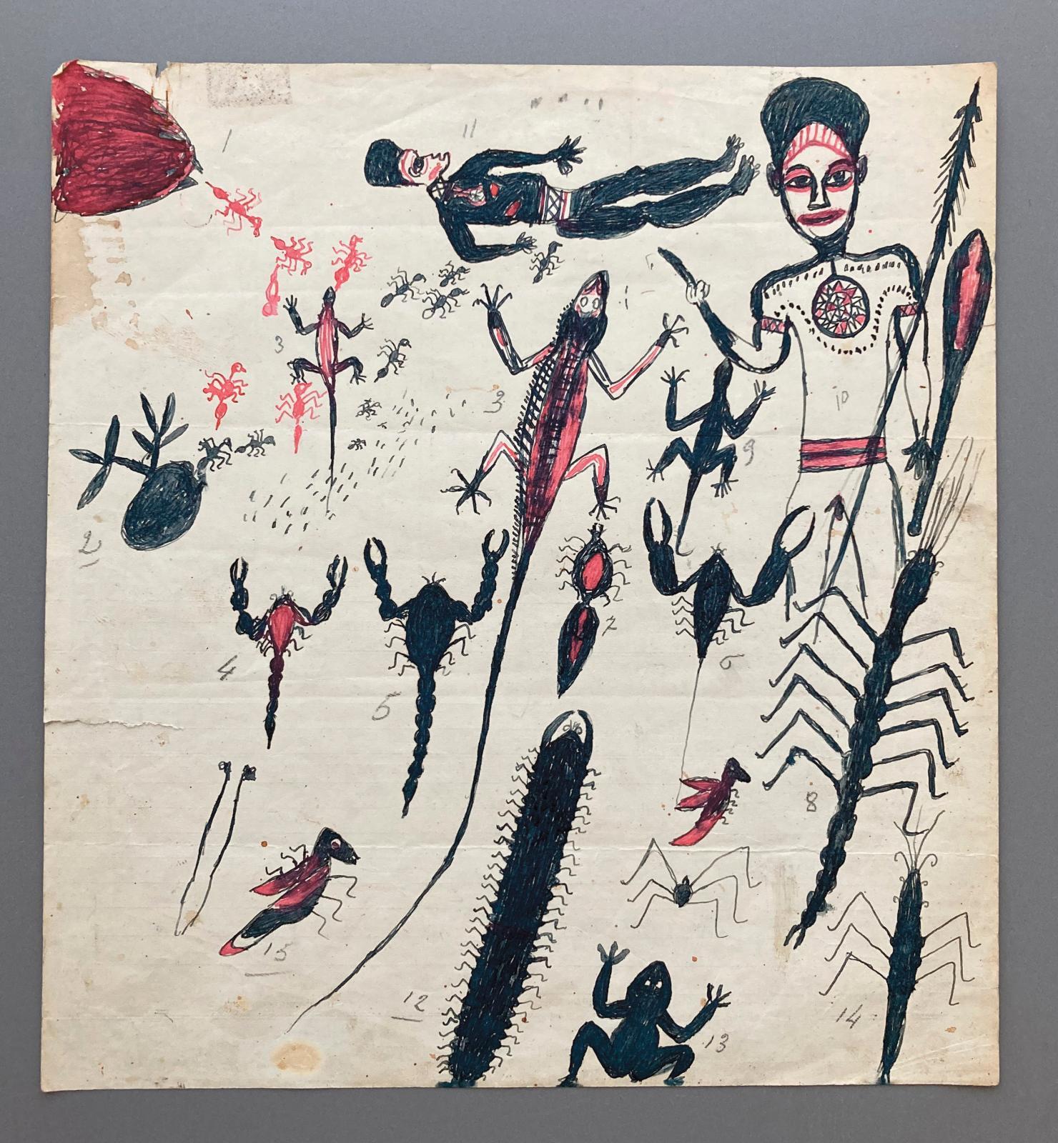 Hermano Somuk (?-1965), archipel des îles Salomon, île de Bougainville, îles Shortland. XXesiècle. Sans titre (conte de Susagu : scène du