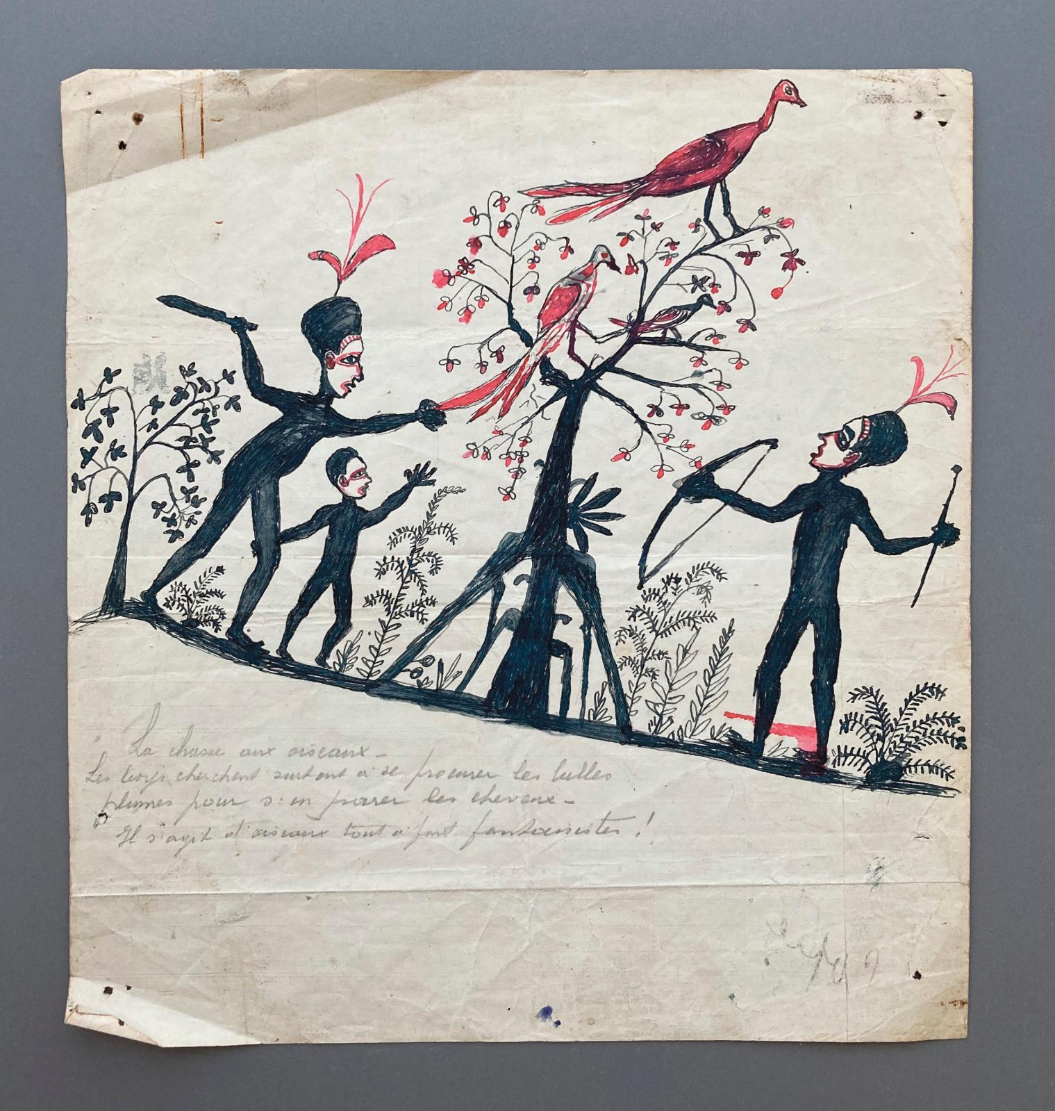 Hermano Somuk (?-1965), archipel des îles Salomon, île de Bougainville, îles Shortland. XXesiècle. La Chasse aux oiseaux, encre et/ou cra