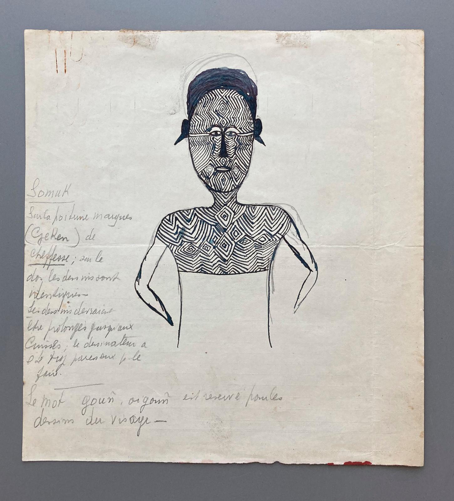 Hermano Somuk (?-1965), archipel des îles Salomon, île de Bougainville, îles Shortland, XXesiècle. Tatouages corporels, encre et/ou cray