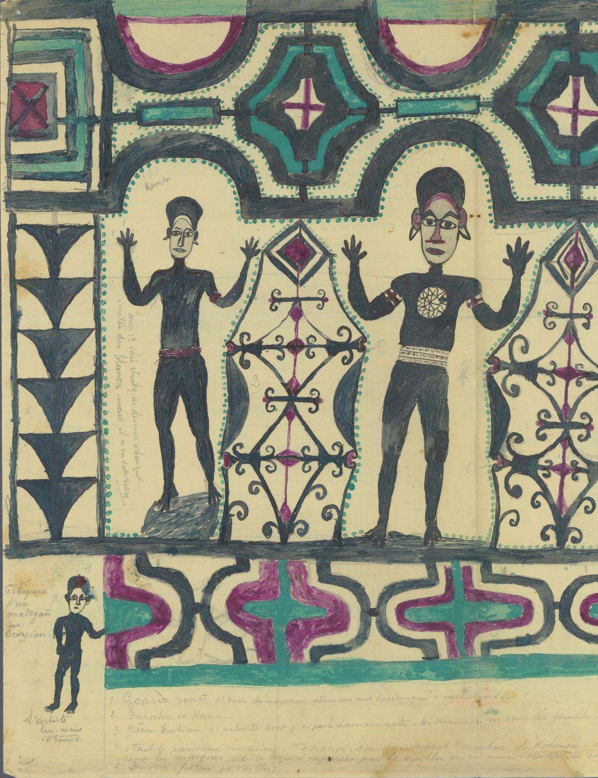 Hermano Somuk (?-1965), archipel des îles Salomon, île de Bougainville, îles Shortland, XXesiècle. Sans titre, encre et/ou crayon gras su