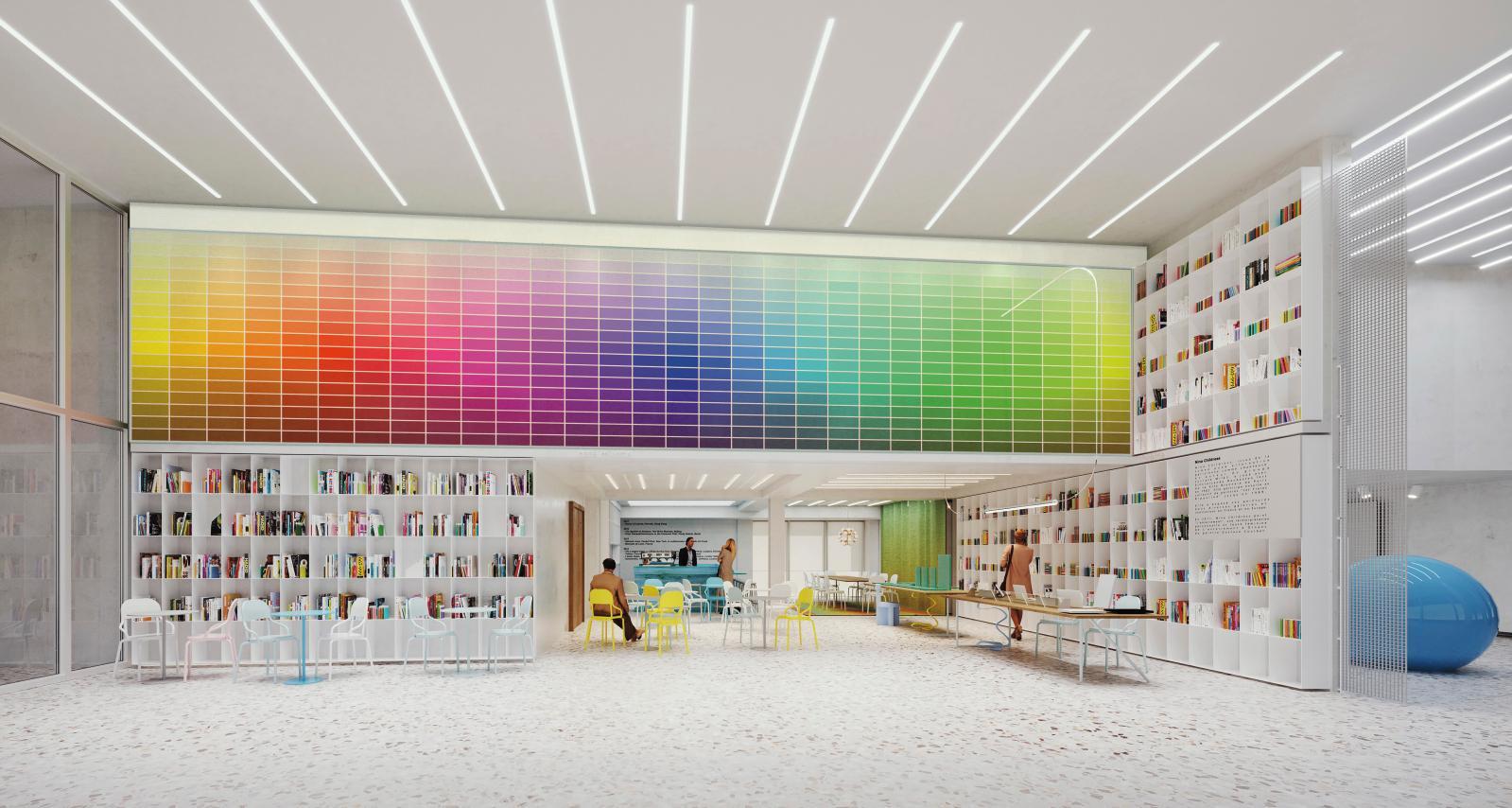 La bibliothèque de la fondation, image de synthèse. Nem - Niney et Marca Architectes. Image Michael Kaplan