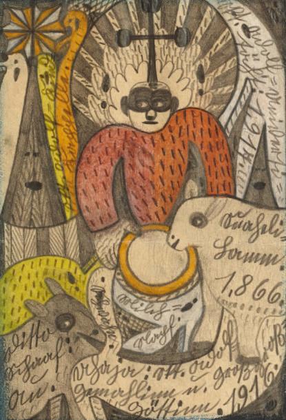 30000€ Adolf Wölfli (1864-1930), dessin aux crayons de couleur signé «1866», 1916/1917, 28,8x22cm. Drouot, 16juin 2011. Auction Art