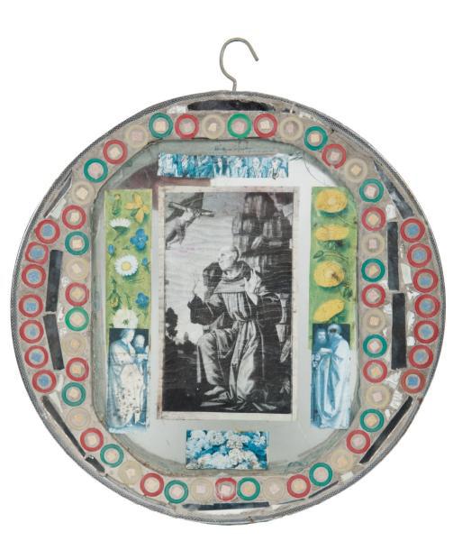 434€ Josué Virgili (1901-1994), panneau réalisé dans une jante de vélo, vers 1960, verre, mosaïque, papier collé, diam.50cm. Marseille,