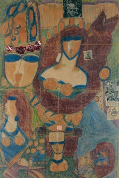 43372€ Aloïse Corbaz, dite Aloïse (1886-1964), Sans titre, œuvre double face, crayons de couleur, collage et fils cousus sur papier, 89