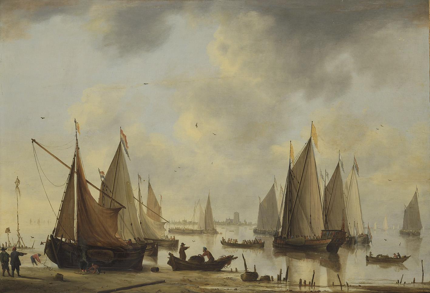 Cette Marine, avec au loin la ville de Dordrecht (73,5x105cm) a pris le large pour 63500€. Elle rejoignait ainsi une nouvelle collect