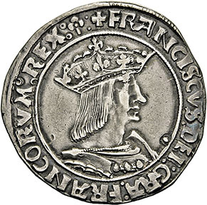 €915Lyon, François I (r. 1515-1547). silver teston, 13th type, bust of the king in armor facing right, closed crown, crowned ecu de France