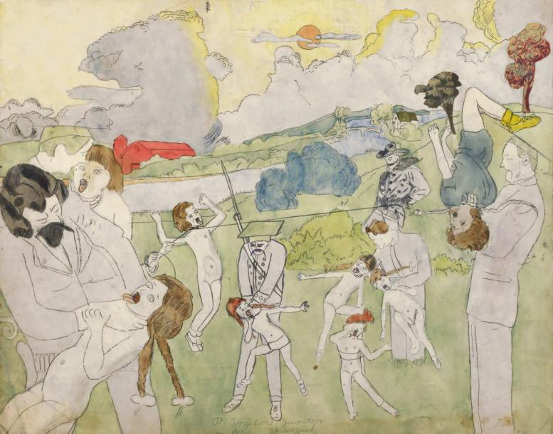 154 900 € Henry Darger (1892-1973), At Angeline Junction and Strangled, gouache, aquarelle, carbone, crayon et collage sur papier, 48,3 x
