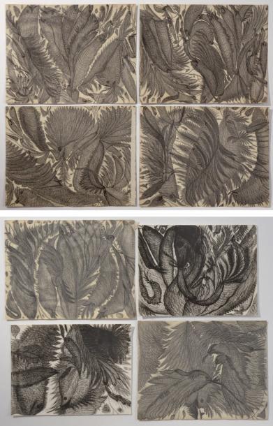 4338€ Madame Bouttier (1839-1921), Animaux et végétations fantastiques. Compositions médiumniques, ensemble de six dessins à la mine de