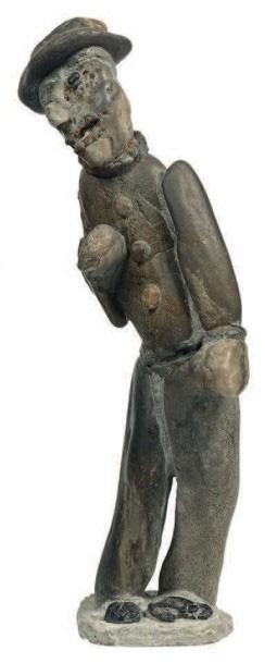 379€ Marcel Landreau (1922-1992), Sculpture du «caillouteux», assemblage de galets liés au mortier, h.30cm. Drouot, 17avril 2015. Ferr