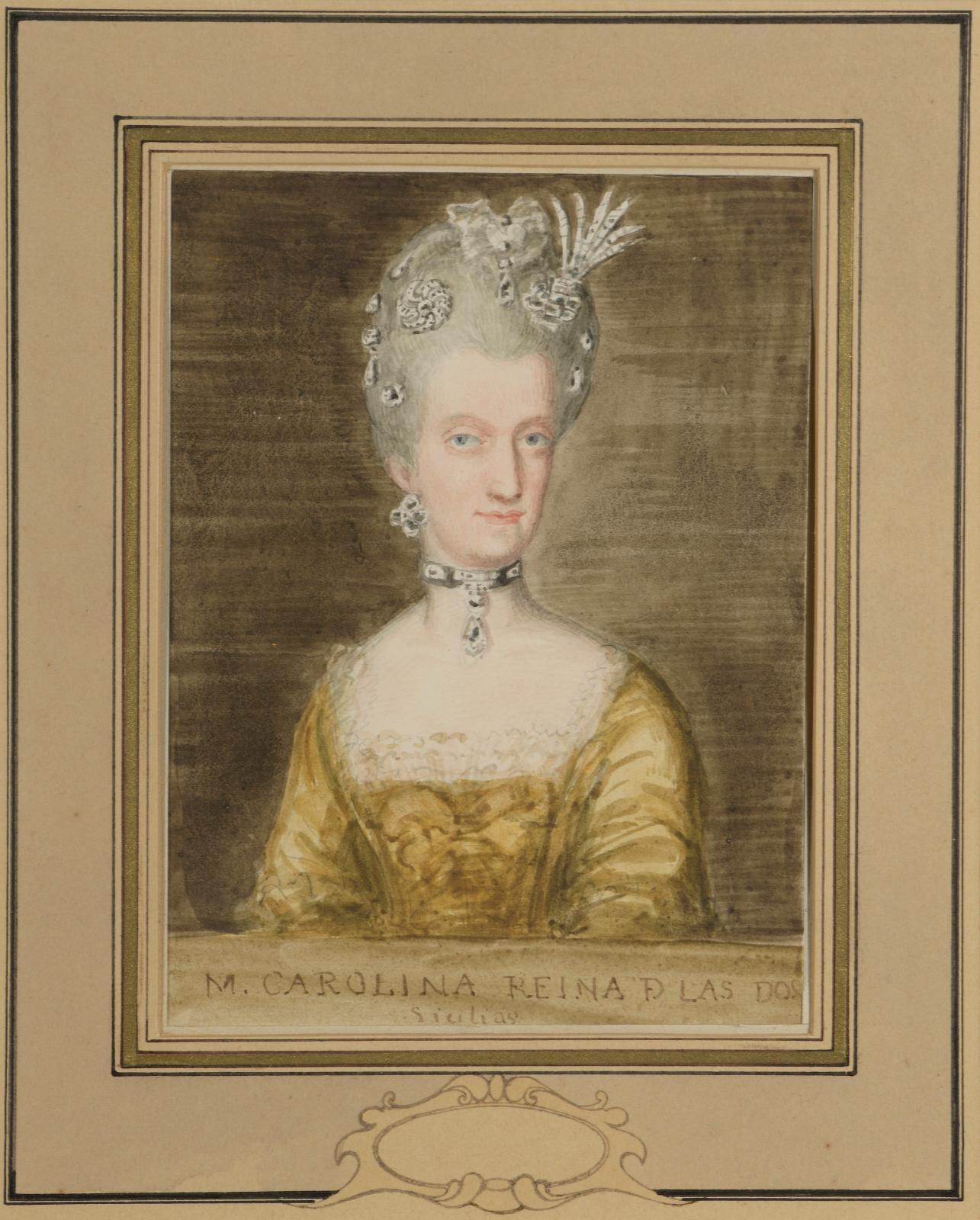 780€ Valentín Carderera y Solano(1796-1880), Portrait de la reine Marie-Caroline deBourbon des Deux-Siciles, vers 1830, aquarelle, 15,7