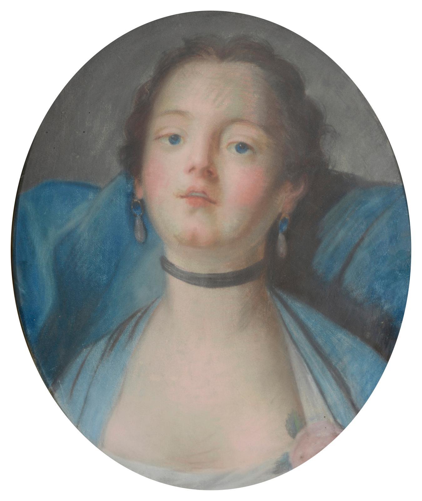 149€ École française du XIXesiècle. Portrait de jeune femme au collier de chien, pastel, 41x34cm. Drouot, 11juillet 2017. Le Floc'h