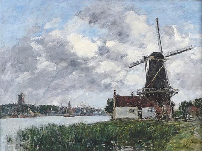 La silhouette familière aux vues hollandaises stoppait ses ailes à 74704€. Peint en 1875, Dordrecht, moulin sur les bords de la Meuse (5