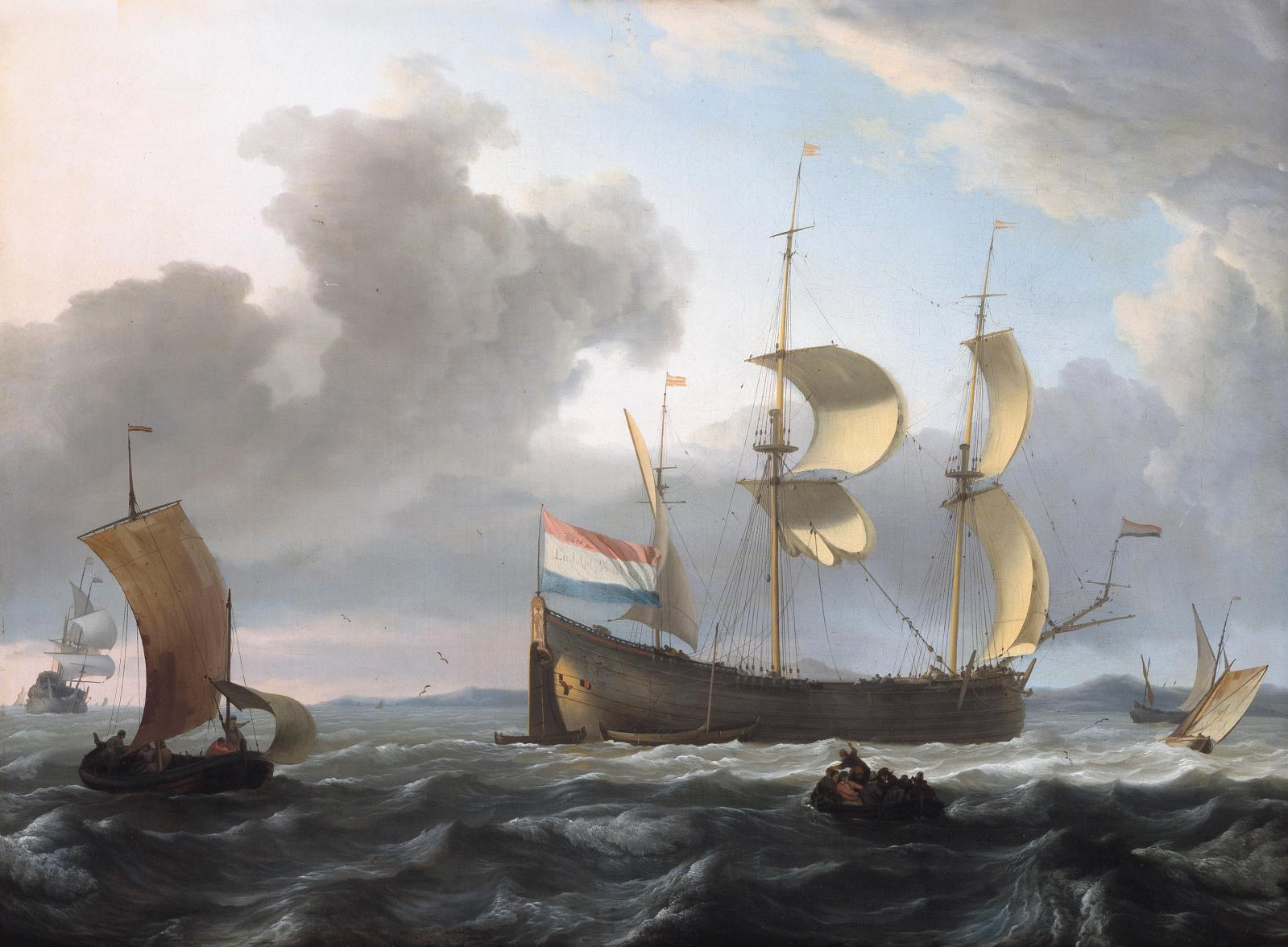 Ludolf Backhuysen (1630-1708), Marine par gros temps, huile sur toile, 44,5x58,5cm. Adjugé : 172200€