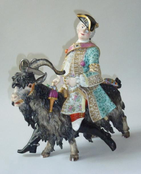 "€10,625Johann Joachim Kändler (1706-1775), ""Von Brühl's tailor"" dressed as a gentleman and riding a goat, 19th century, porcelain, 43.5 x"