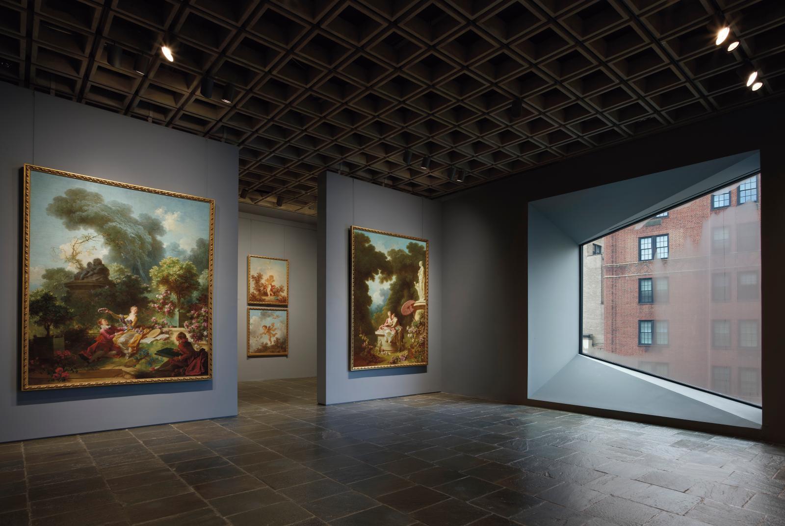 Le nouvel accrochage des Progrès de l'amour de Fragonard dans le bâtiment de Breuer. © Joe Coscia