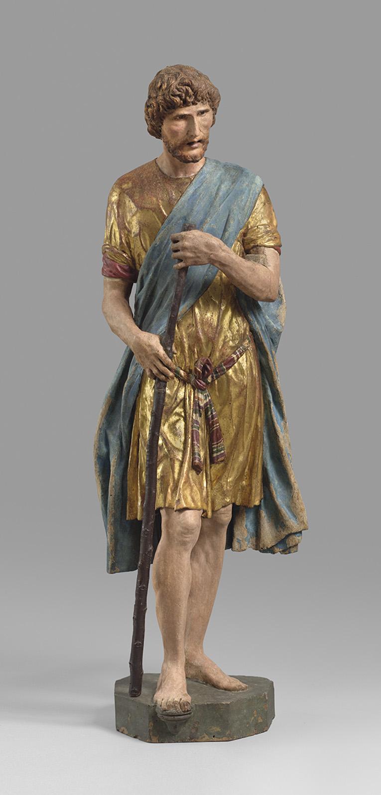 Francesco di Giorgio Martini(1439-1501), Saint Christophe, 1488-1490, bois polychromé et doré, h.164cm. ©Paris, Musée du Louvre, Dist.