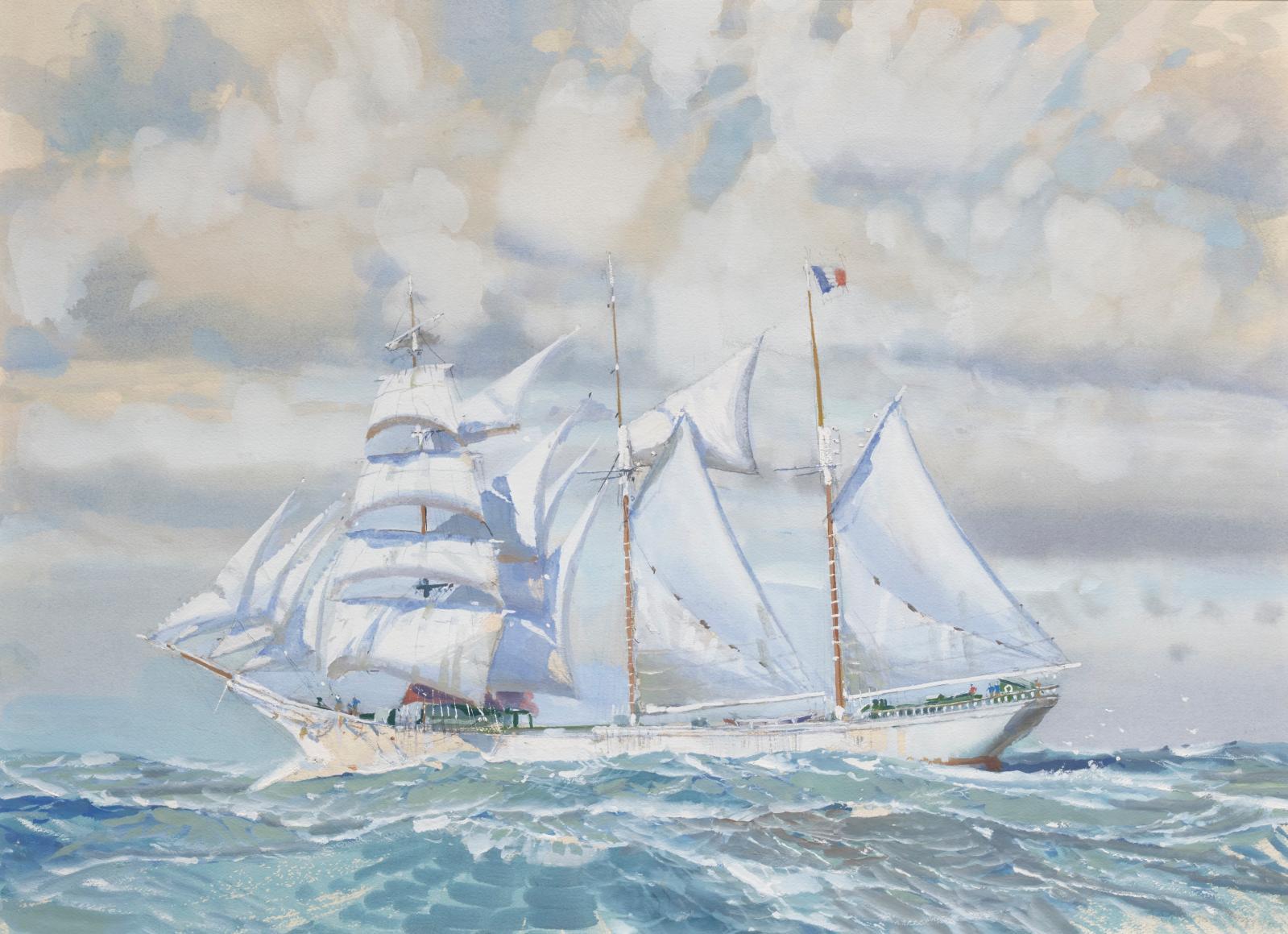 Marin-Marie (1901-1987), Trois-Mâts barque sur mer formée, aquarelle gouachée, 52x72cm (détail). Estimation: 20000/30000€