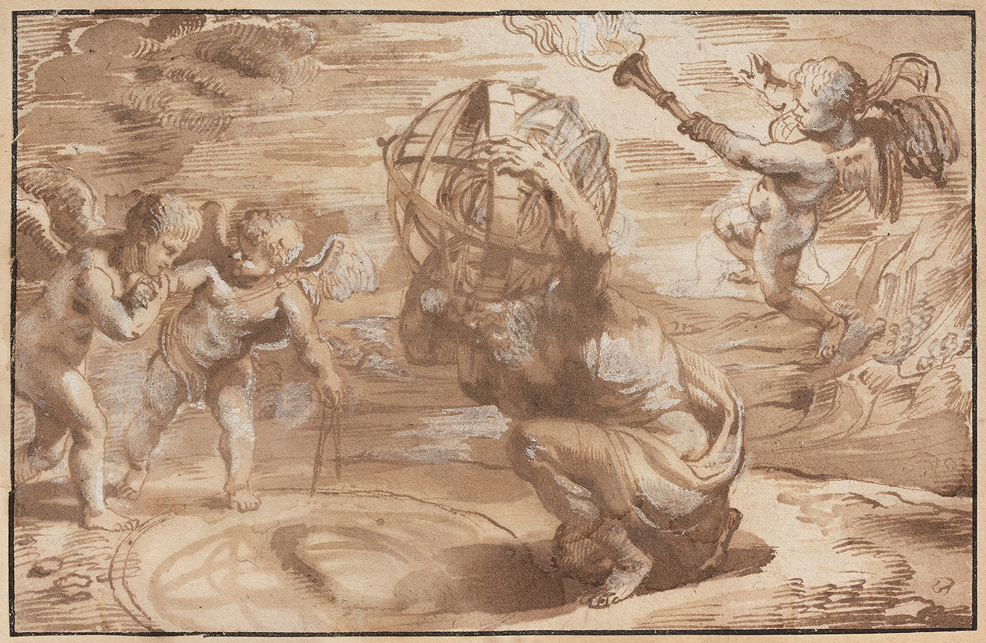 Peter Paul Rubens (1577-1640), draft vignette for Opticorum libri sex by Franciscus Aguilon, c. 1613, pen and brown ink, brown ink wash an