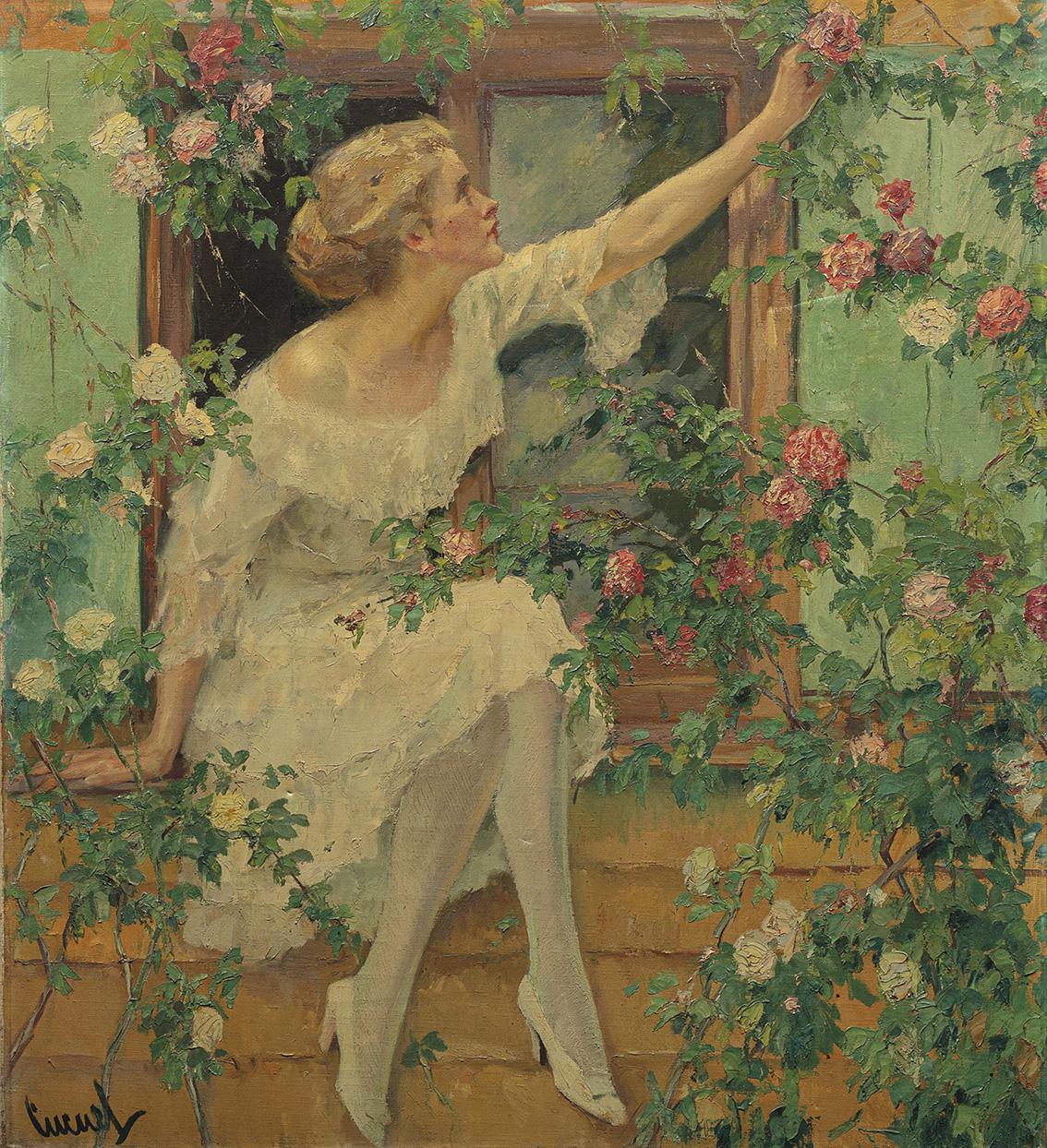 Edward Cucuel(1875-1945), Wild Roses, huile sur toile, 100x90cm. Adjugé: 135200€