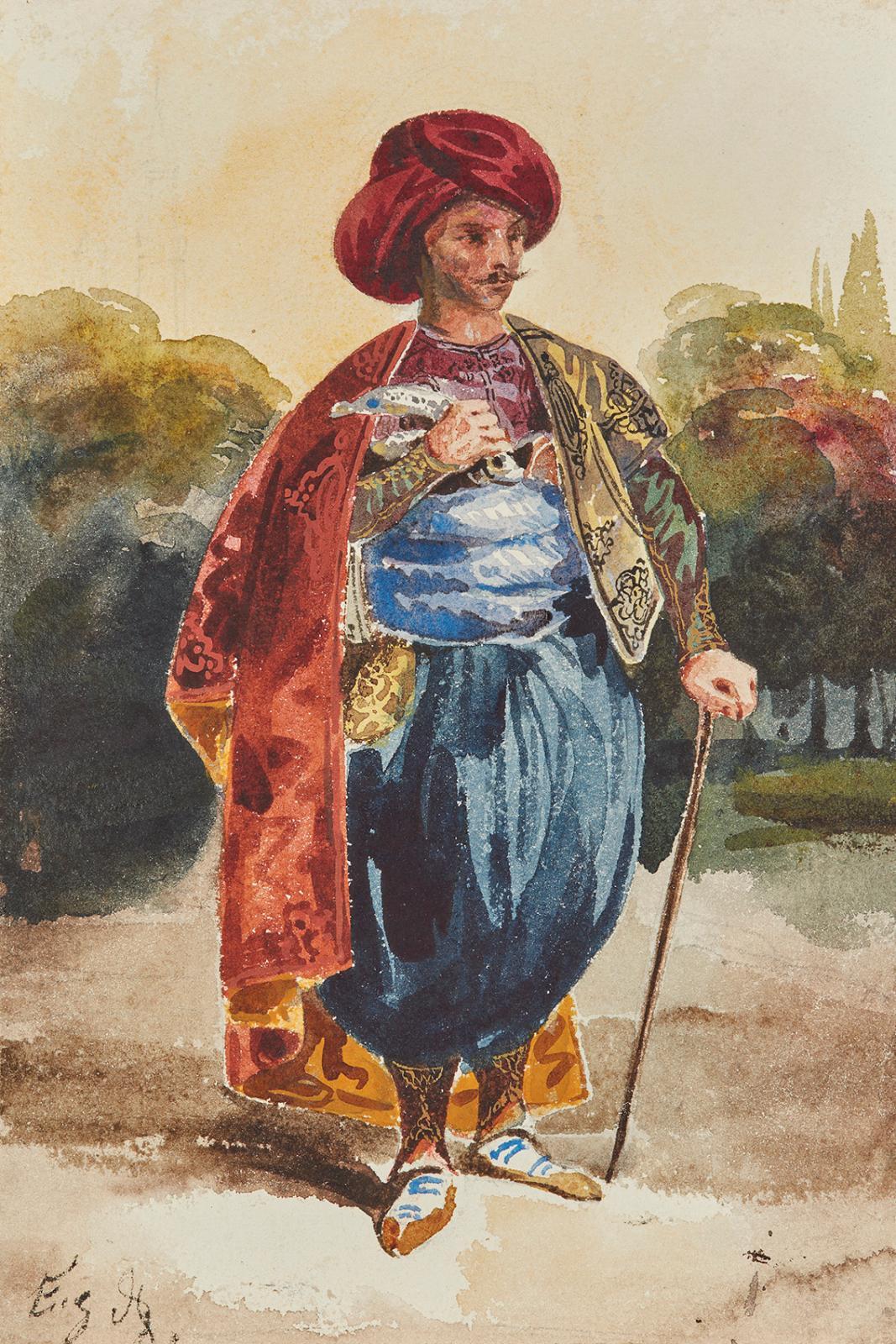 Album amicorum composé par la comtesse d'Hautefort(1787-1850), comprenant 96œuvres sur papier dont une aquarelle d'Eugène Delacroix (179