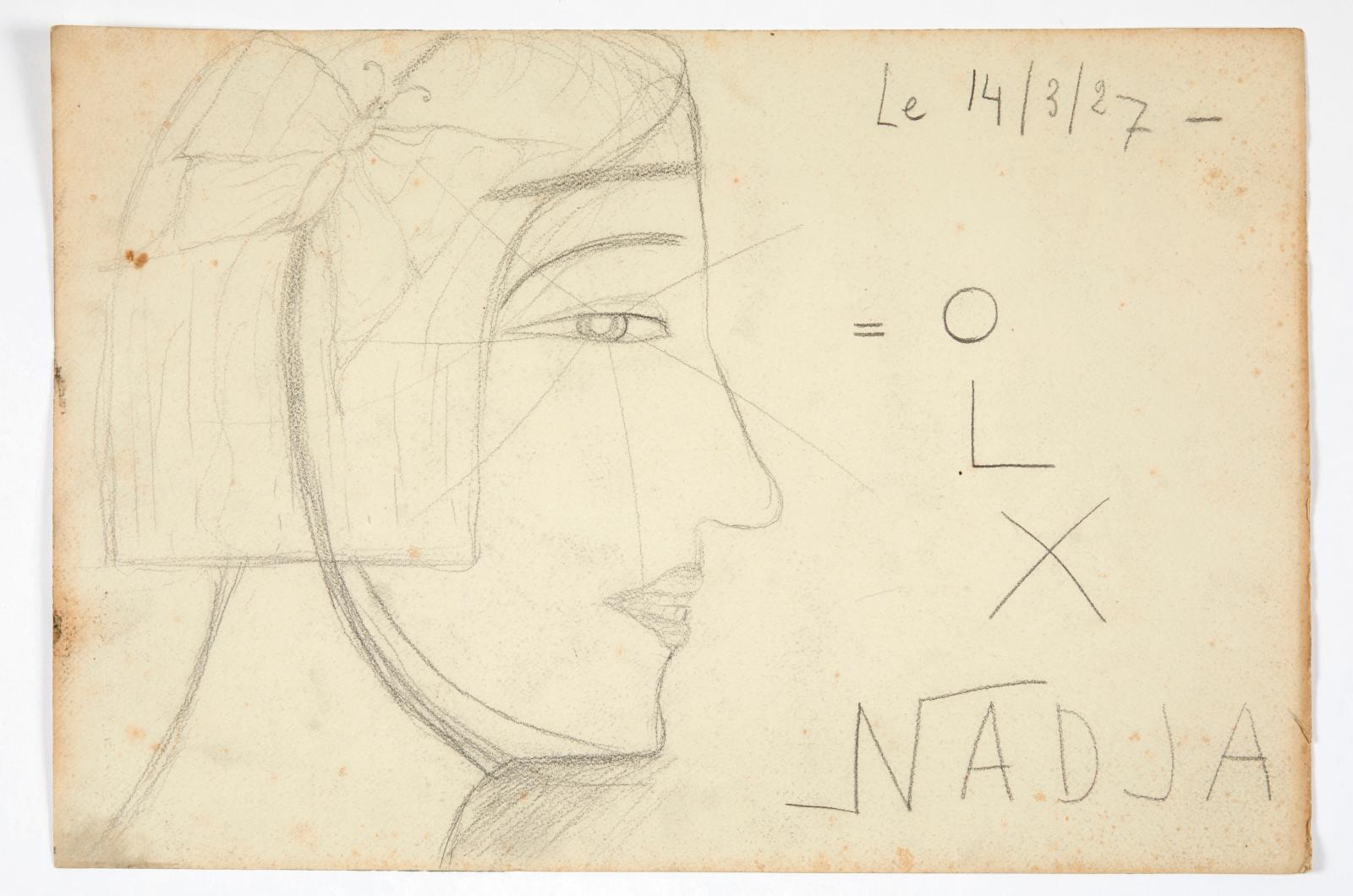Autoportrait de Nadja, sans lieu [Paris], le 14/3/27, 43x29cm. Dessin au crayon vendu 36400€ lors de la dispersion de la collection d