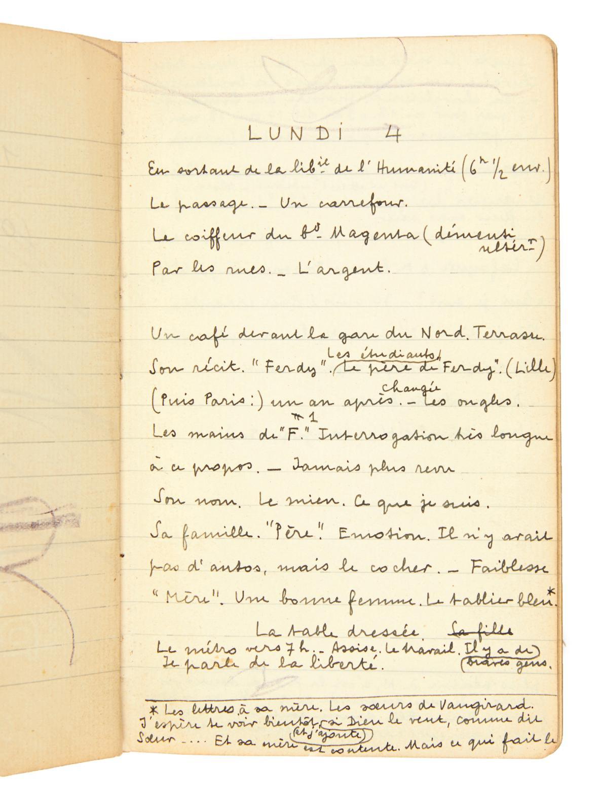 André Breton (1896-1966), carnet de notes pour l'écriture de Nadja, [Paris], octobre 1926. Acheté 71500€ par la BnF lors de la dispersio