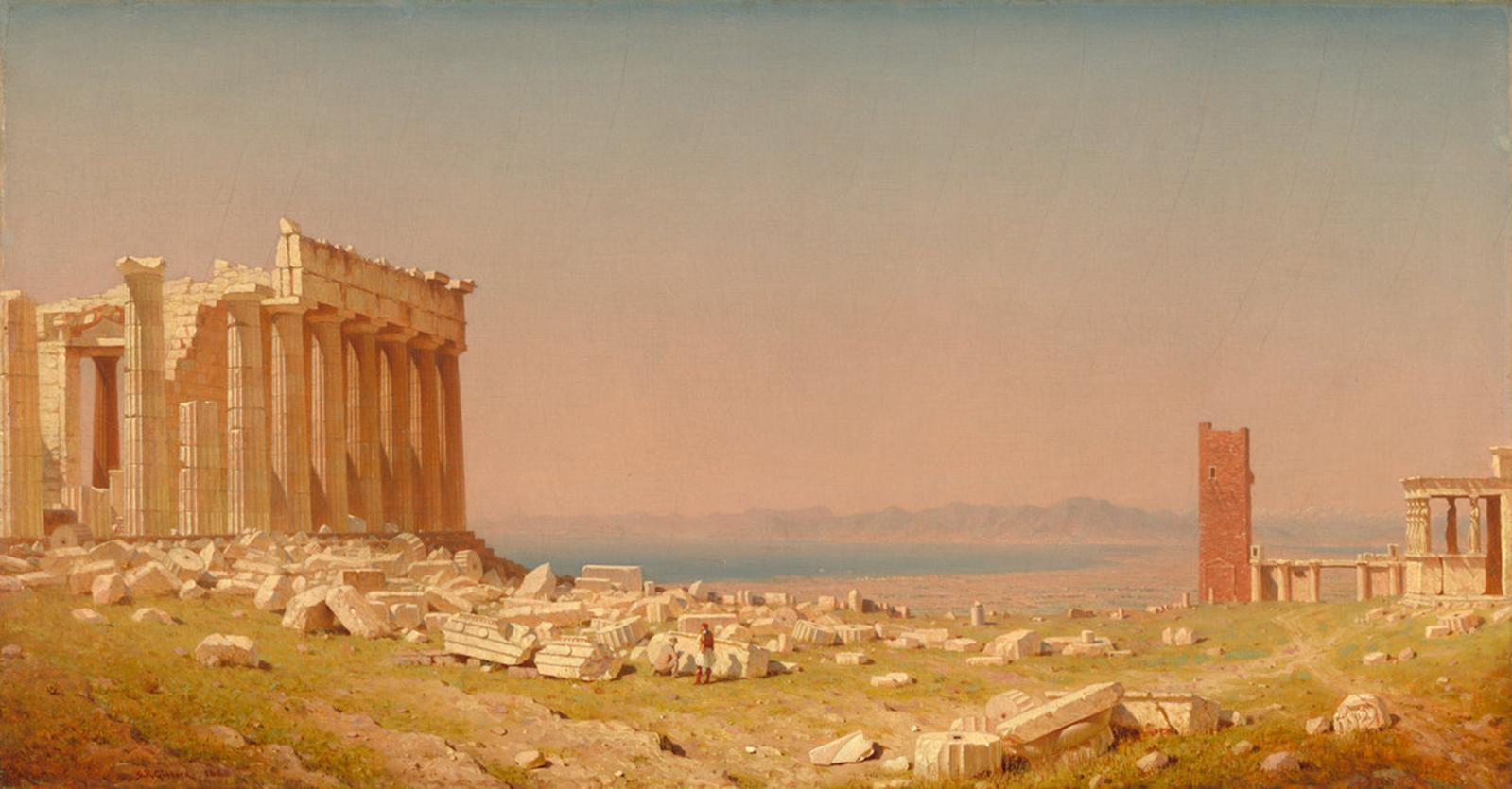 Sanford Robinson Gifford (1823-1880), Ruines du Parthénon, 1880 (détail).