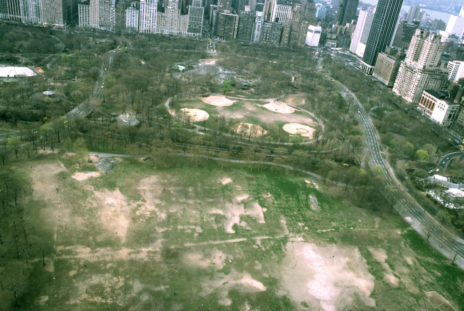 Sheep Meadow and Heckscher Ballfields before restoration.Courtesy of the Central Park Conservancy.