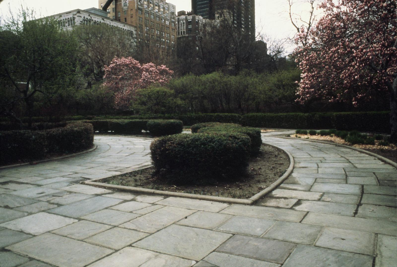 The Conservatory Garden before restoration.Courtesy of the Central Park Conservancy