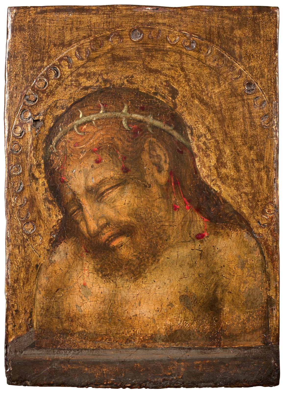 Michele Giambono (documenté à Venise entre 1420 et 1462), Christ de douleurs, fragment de panneau de dévotion, peinture à l'œuf et fond d'