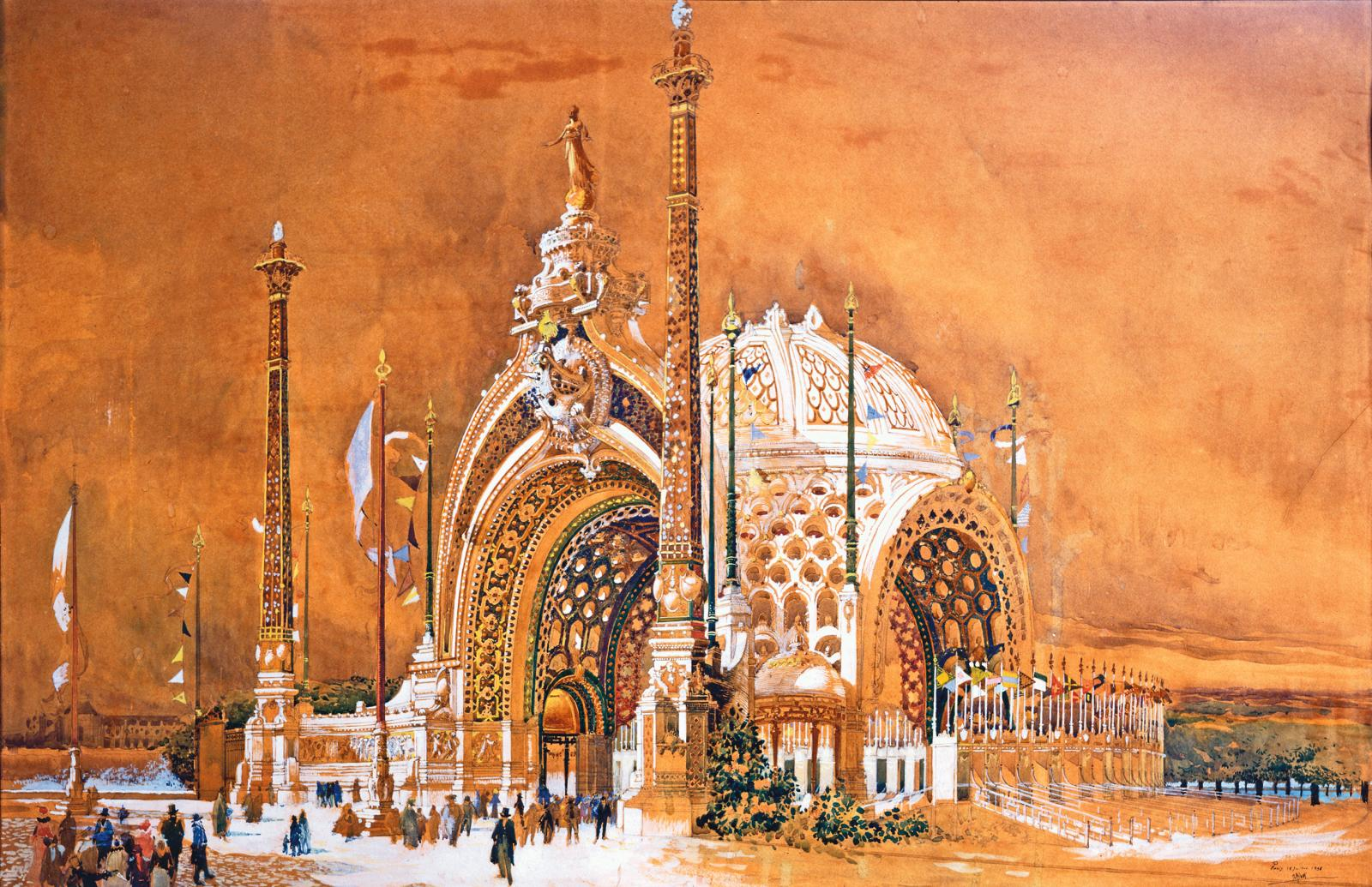 René Binet,Projet pour la porte monumentale de l'Exposition universelle de 1900, 1898, aquarelle, 62 x 95 cm, Musées de Sens.
