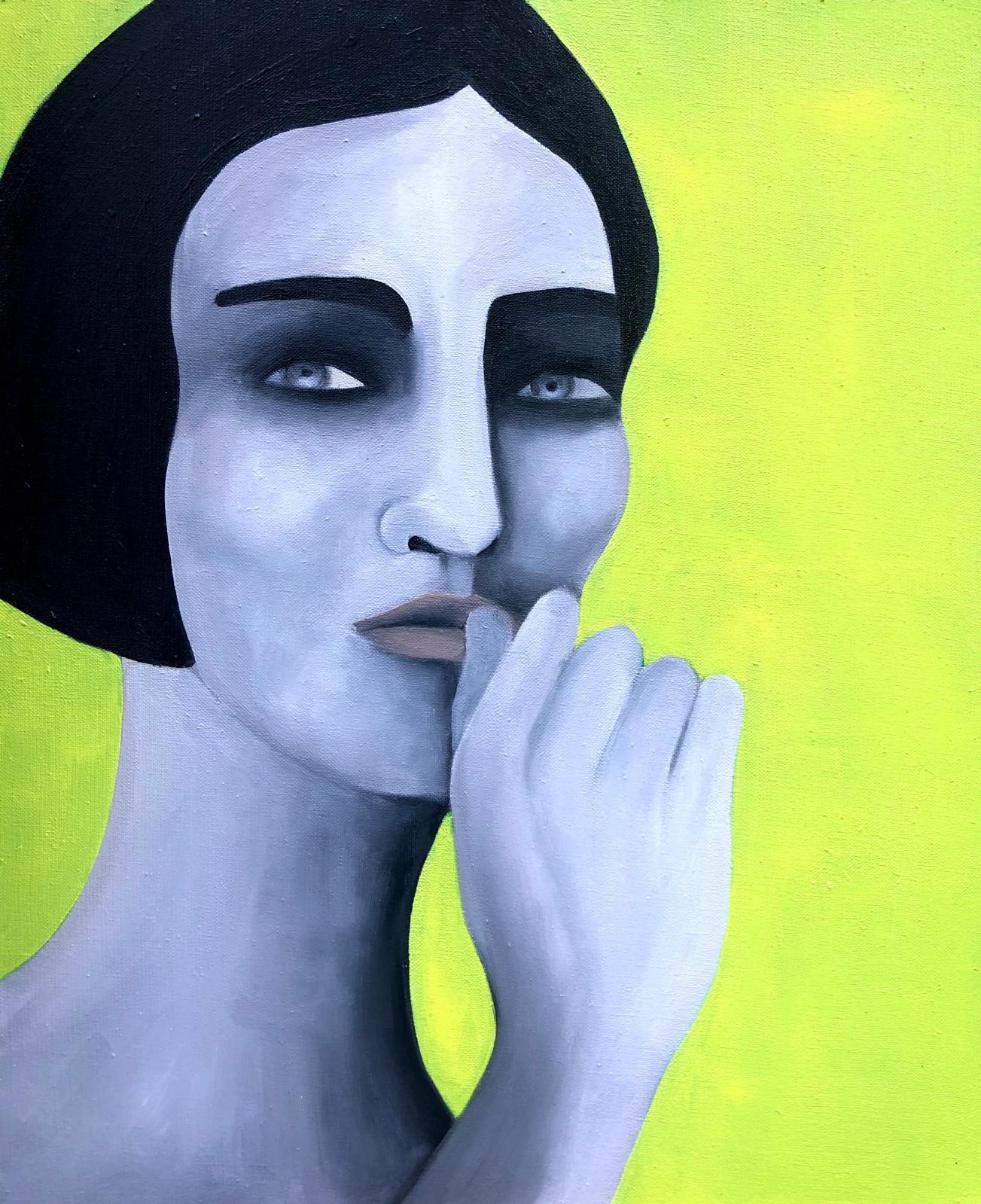 Rebecca Brodski (née n 1988), Midnight Interrogation, 2021, huile sur toile, 61x50cm. © courtesy BY LARA SEDBON