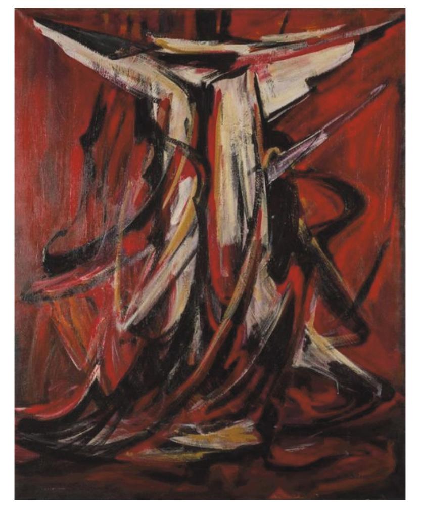 Selim Turan (1915-1994), Composition, huile sur toile, 163x129cm. Villefranche-sur-Saône, 7 juillet 2018. Maison de ventes Richard OVV.