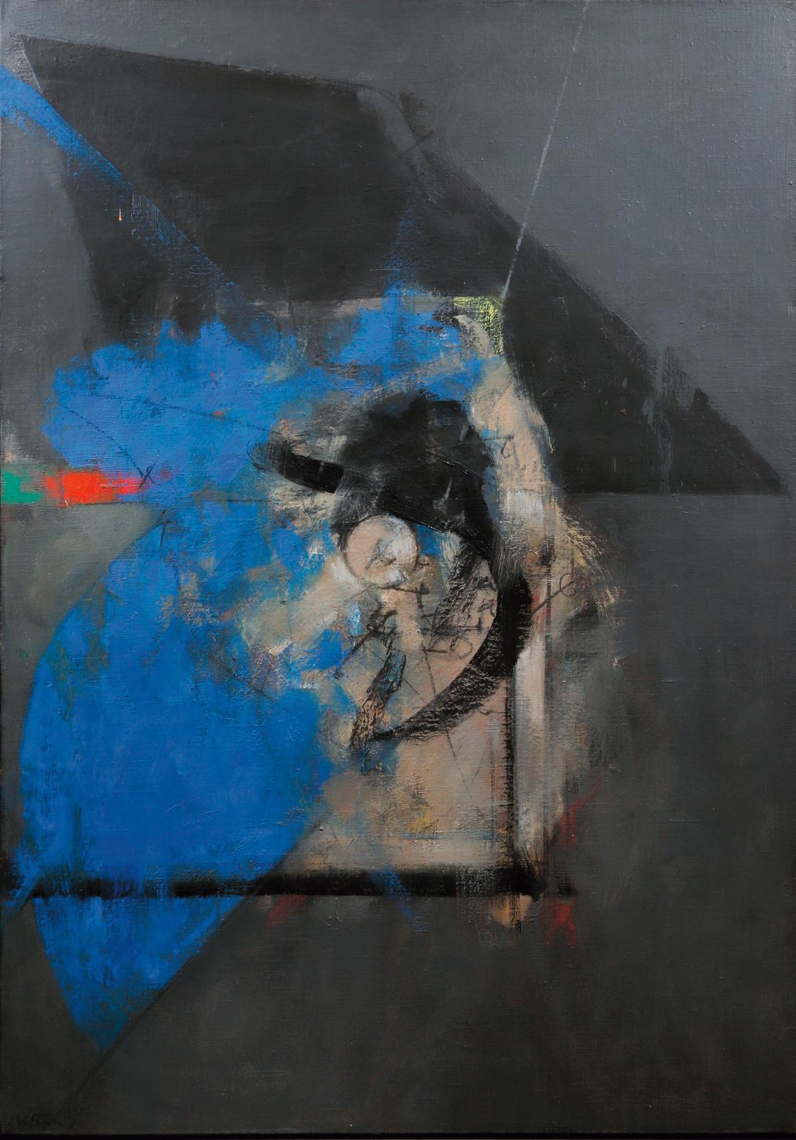 Albert Bitran (1929-2018), Dissonante verte, 1984-1986, huile sur toile, 92,5x65cm. Paris, Drouot, 2 avril 2021. L'Huillier & Associés