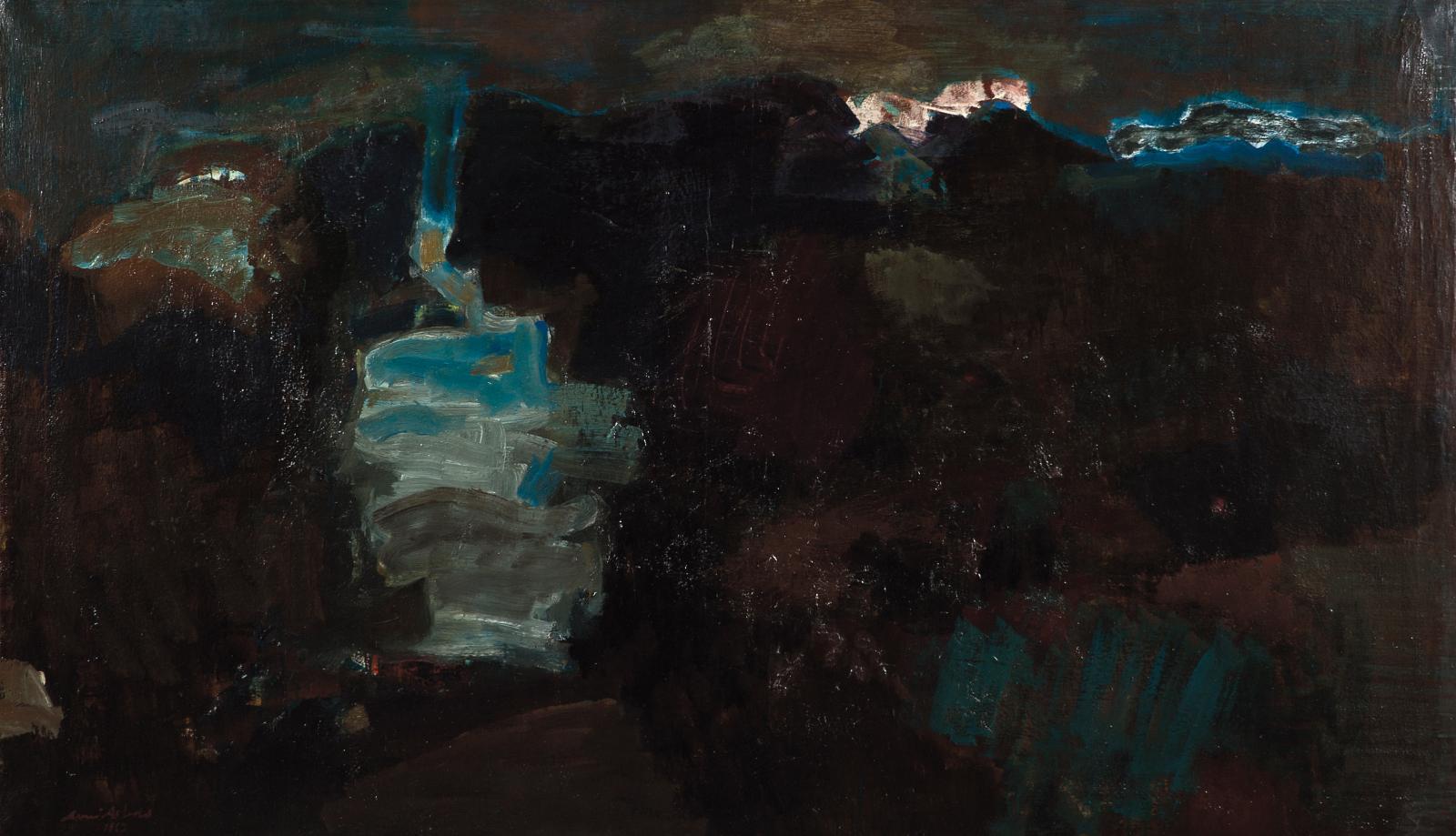 Avni Arbas (1919-2003), La Montagne, 1963, huile sur toile, 113x194cm. Neuilly, 26 octobre 2020. Aguttes OVV. Adjugé: 22406€