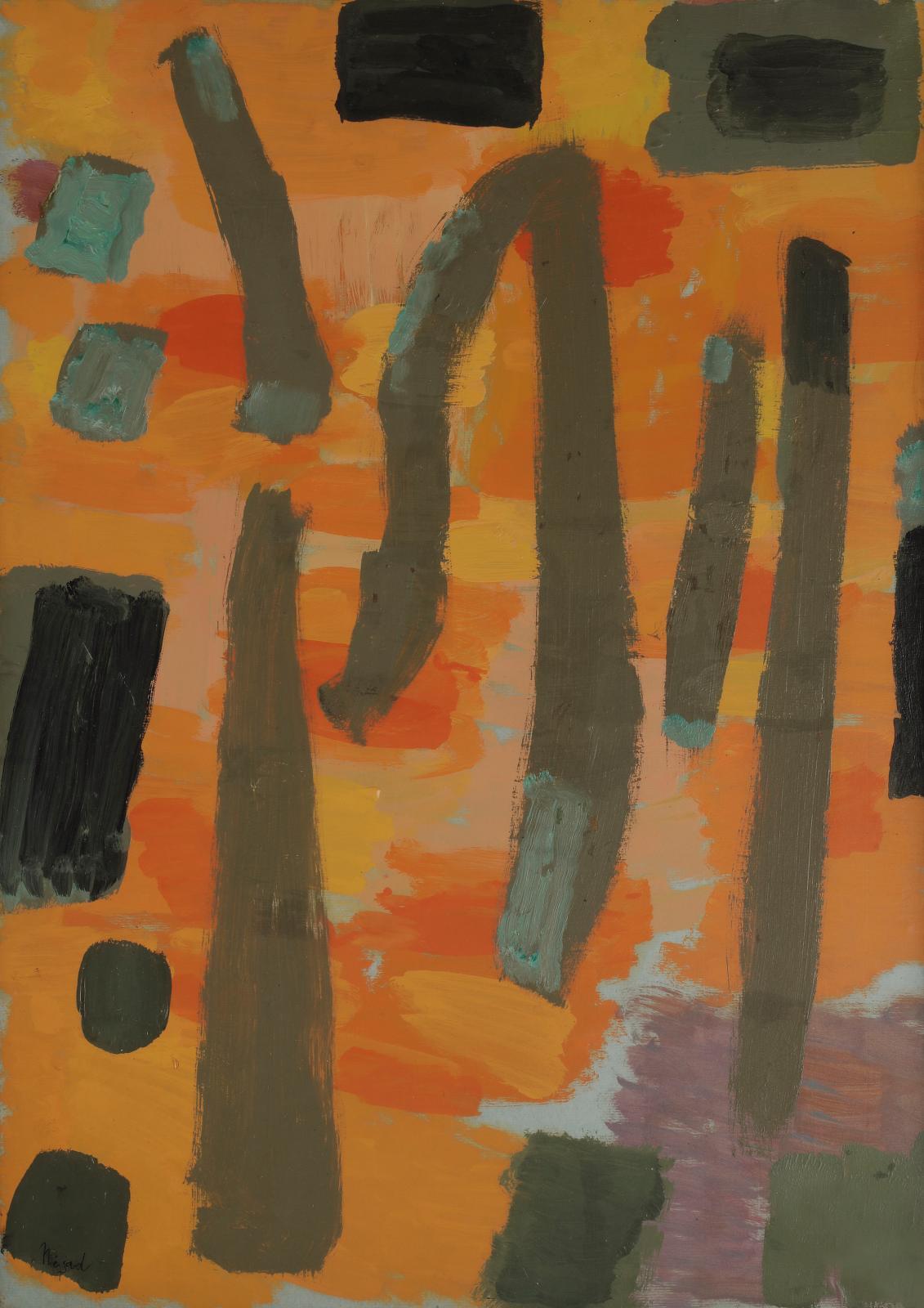 Nejad Devrim (1923-1995), Composition, huile sur toile, 65x46cm. Paris, 30 octobre 2020. Live à huis clos. Ader OVV. Adjugé: 7680€