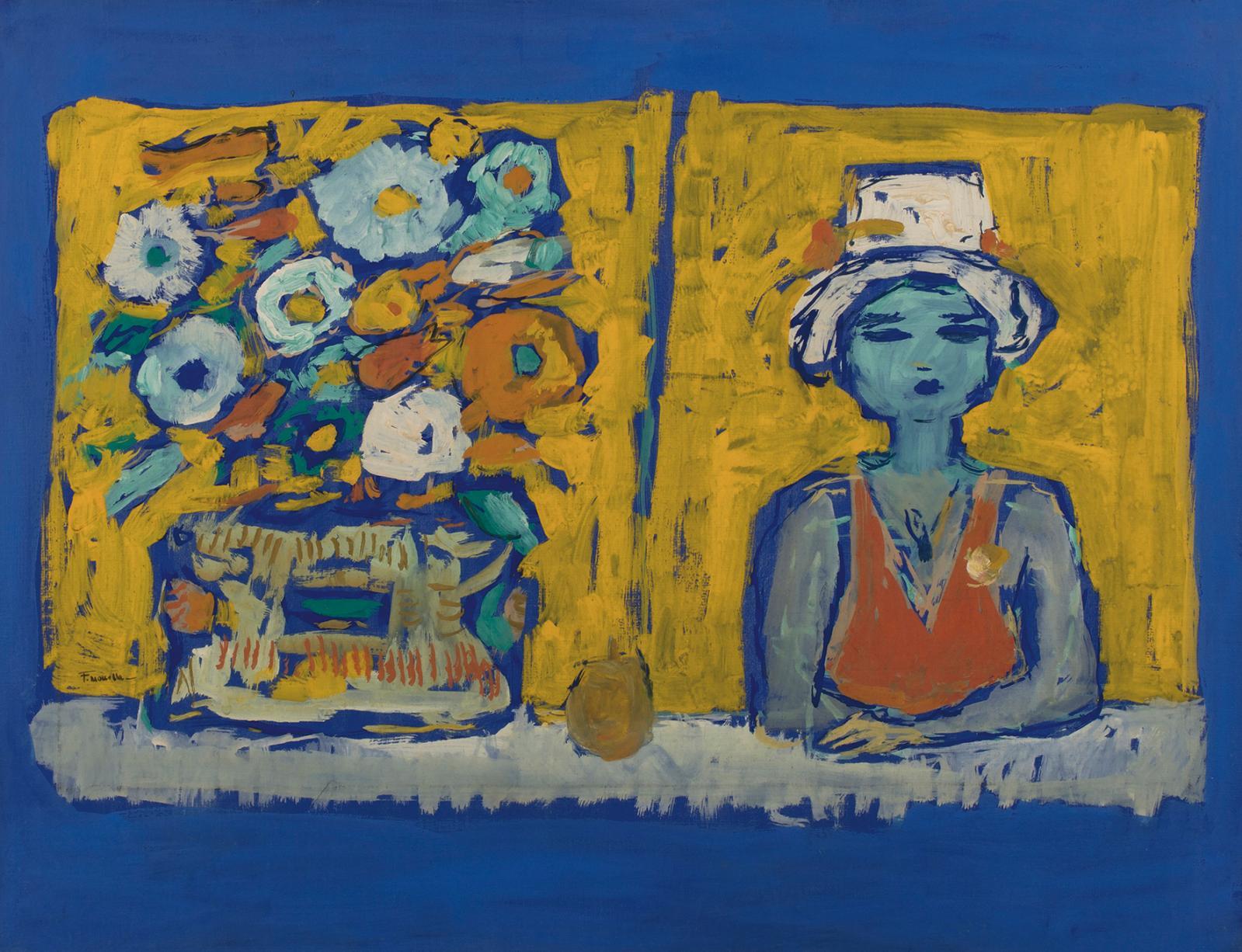 Fikret Moualla (1903-1967), Femme et vase de fleurs, gouache sur papier marouflésur toile, 48,5x65,5cm. Paris, Salle V.V., 18 septembr
