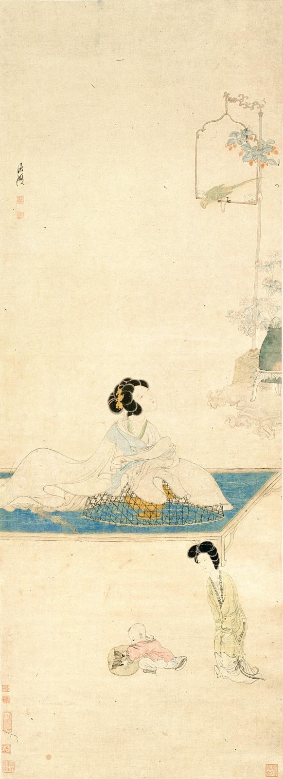 Chen Hongshou, Femme parfumant ses manches (détail), encre et couleurs sur soie, dynastie des Ming (XIVesiècle-XVIIesiècle), musée de Shanghai.
