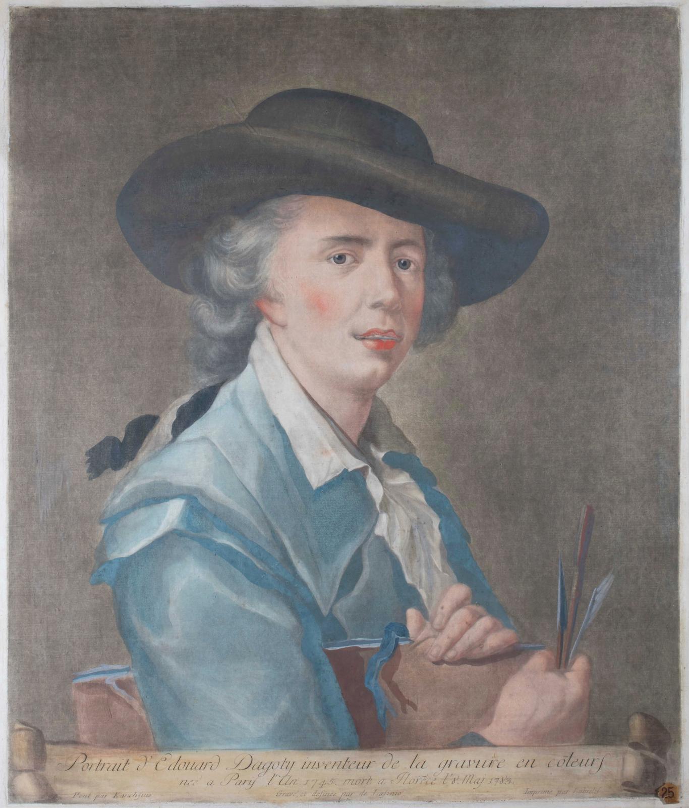 Ce Portrait d'Édouard Dagoty, daté 1783, par Carlo Lasinio (1759-1838), manière noire, d'après Hensius, impression en couleurs, rend homma