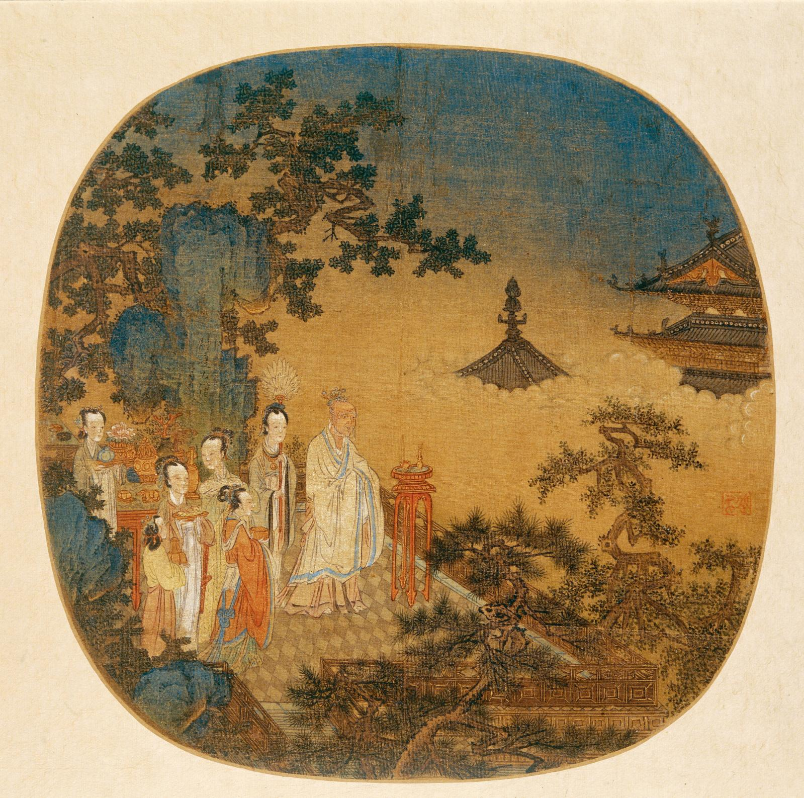 Peinture représentant la consumation de l'encens, anonyme, éventail circulaire en soie, 24x43cm, dynastie des Yuan (XIIIesiècle-XIVesiècle), mu
