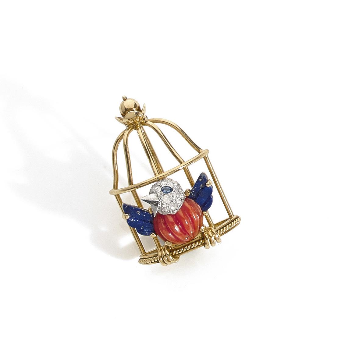€25,502Cartier, after L'Oiseau en cage by Jeanne Toussaint (1942), L'Oiseau Libéré brooch, 1944, 18 k yellow gold, lapis lazuli, ribbed co